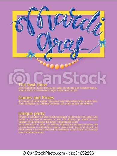Mardi Gras, Fat Tuesday, vector lettering illustration. Design template of poster or banner for party or carnival. - csp54652236