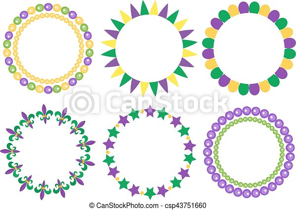 Mardi gras frame set. cute round border with space for text ...