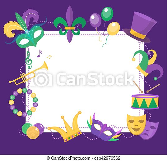 Mardi Gras frame template with space for text. Carnival poster, flyer, invitation. Party, parade background. Vector illustration - csp42976562
