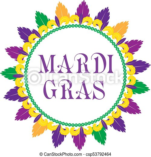 Mardi gras frame template with space for text. isolated on white ...