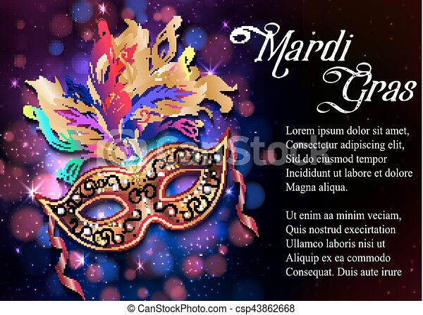 Mardi Gras mask, colorful poster, template, flyer with place for text. Vector illustration - csp43862668
