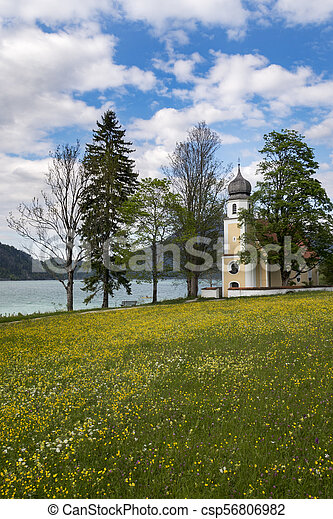 Margarethen church at Walchensee, Bavaria - csp56806982