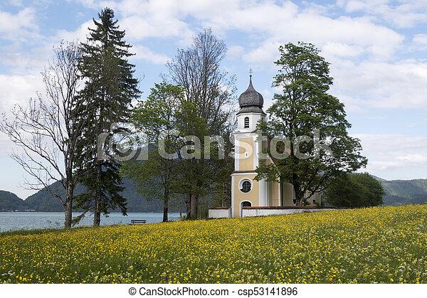 Margarethen church at Walchensee, Bavaria - csp53141896