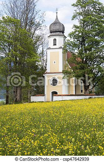 Margarethen church at Walchensee, Bavaria - csp47642939