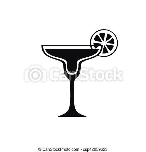 Margarita cocktail icon. simple black design. Margarita ...
