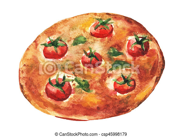 Margarita Pizza Handmade Watercolor Painting Illustration On A White Paper Art Background