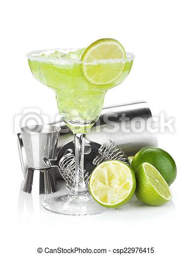 margarita, rand, salzig, cocktail, klassisch - csp22976415