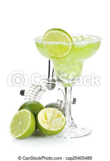 margarita, rand, salzig, cocktail, klassisch - csp20405489