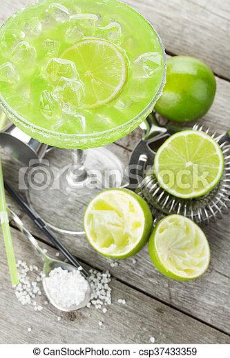 margarita, rand, salzig, cocktail, klassisch - csp37433359
