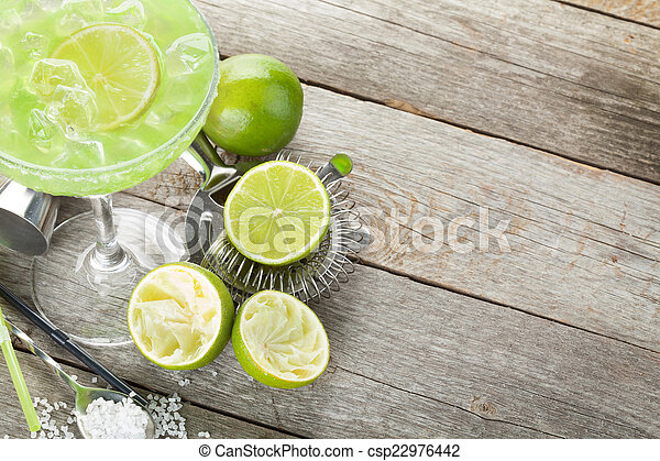 margarita, rand, salzig, cocktail, klassisch - csp22976442