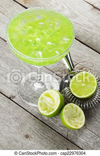 margarita, rand, salzig, cocktail, klassisch - csp22976304