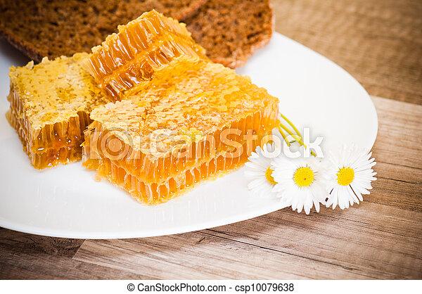 Un panal con margaritas en el plato blanco - csp10079638