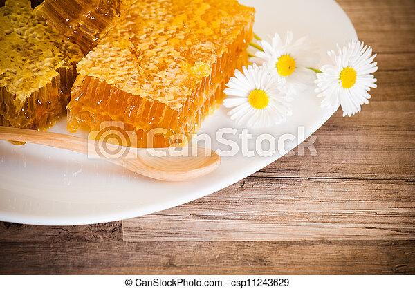 Un panal con margaritas en el plato blanco - csp11243629