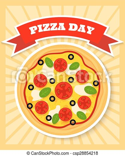 Margherita Pizza Day Bright And Colourful Poster Template For