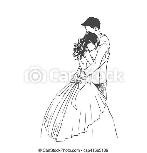 marié., type., mariage, croquis, mariée, invitation, carte - csp41665109