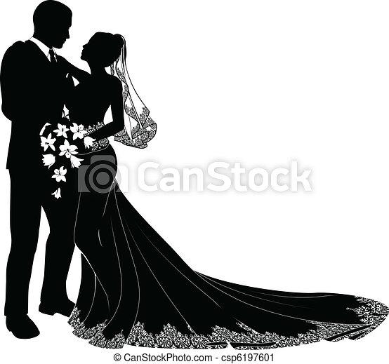 mariée, palefrenier, silhouette - csp6197601
