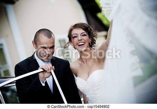 mariée, palefrenier, voiture - csp15494902