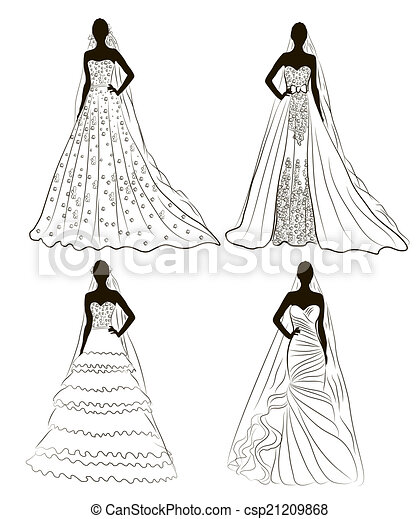 mariées, charge, kit, silhouette, mariage - csp21209868
