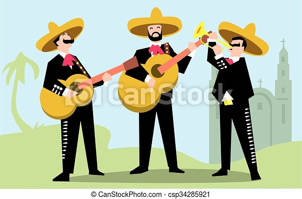 mariachi band in sombrero with guitar mexican music band vector rh canstockphoto com Mariachi Band Mariachi Band