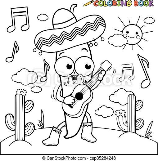 Mariachi Chili Pepper Coloring Page