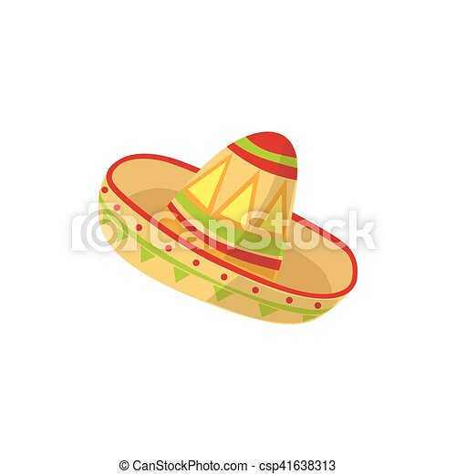 Mariachi Hat Mexican Culture Symbol Isolated Bright Color Vector
