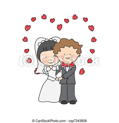 mariage, carte, invitation - csp7343808