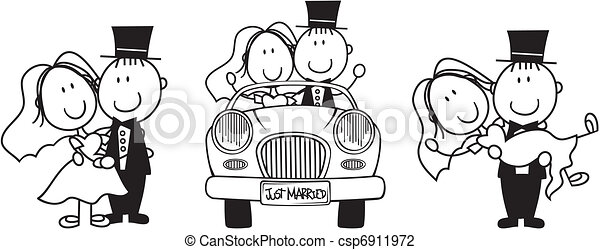 mariage, dessin animé, invitation - csp6911972