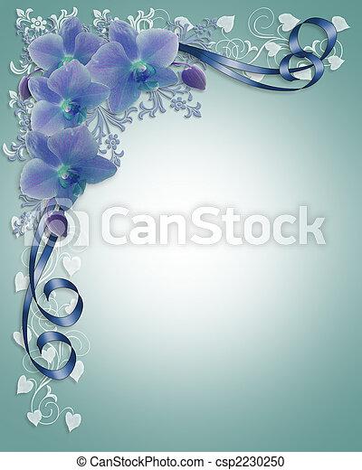 mariage, frontière florale, orchidées, bleu - csp2230250