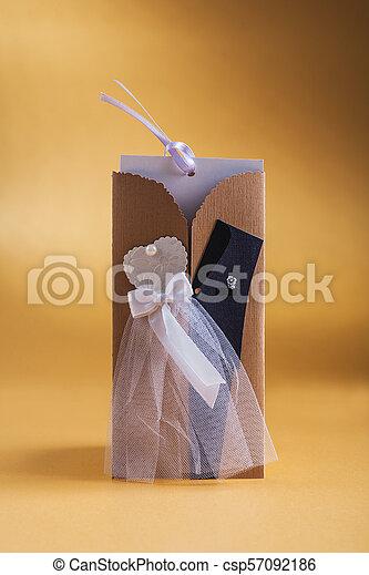 mariage, jaune, 3, fond, invitation, carte - csp57092186