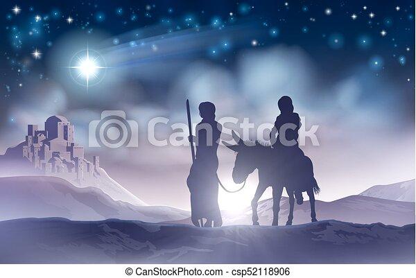 marie, joseph, nativity noël, illustration - csp52118906