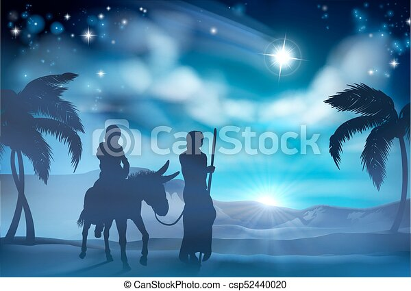 marie, joseph, nativity noël, illustration - csp52440020