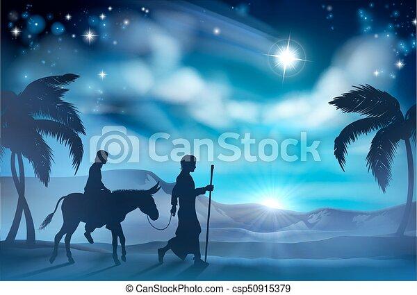 marie, joseph, nativity noël, illustration - csp50915379