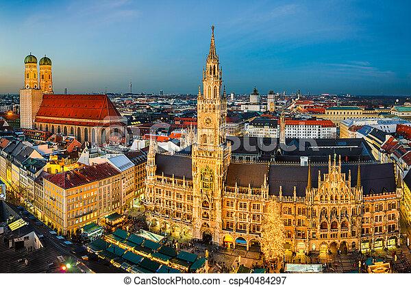 Munich Germany Christmas.Marienplatz And Christmas Market In Munich Germany