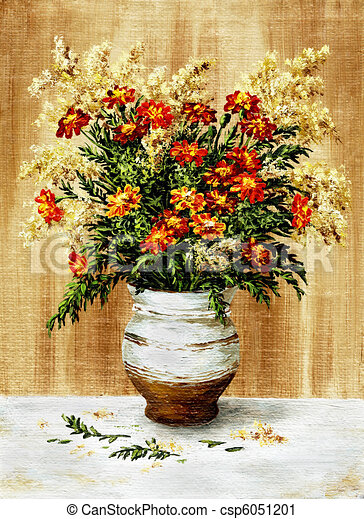 Marigold in a ceramic pot - csp6051201