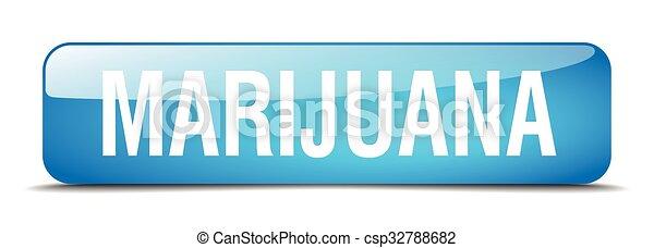 marijuana blue square 3d realistic isolated web button - csp32788682