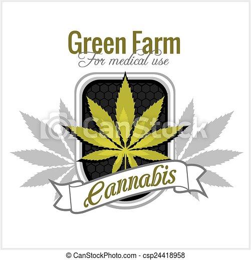 Marijuana - cannabis. For medical use. Vector set. - csp24418958