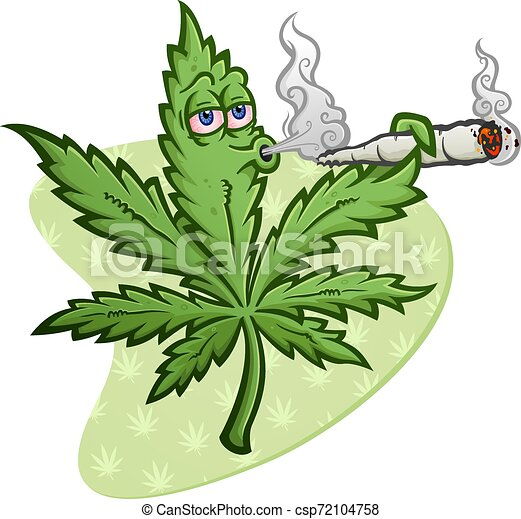 Marijuana Cartoon Character Smoking A Joint Blowing Smoke A Cheerful Marijuana Vector Cartoon Character Getting High And