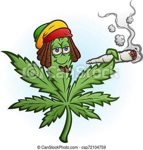 Marijuana Cartoon Character Smoking A Joint Wearing A Rastafari