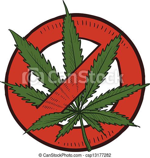 Marijuana illegal sketch - csp13177282