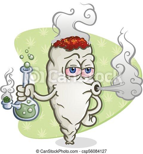 Marijuana Joint Cartoon Character Smoking A Bong A Marijuana Joint Cartoon Character Smoking A Glass Bong Blowing Smoke And