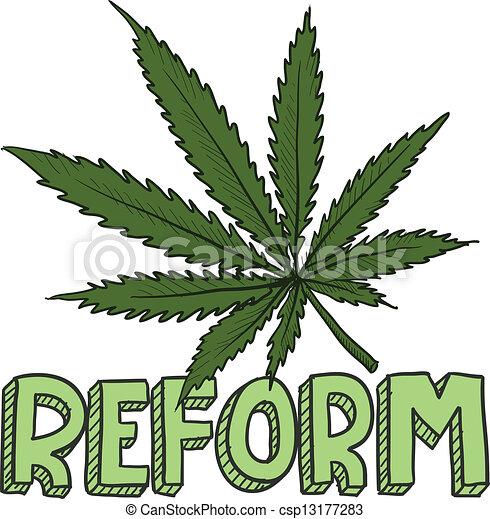 Marijuana law reform sketch - csp13177283