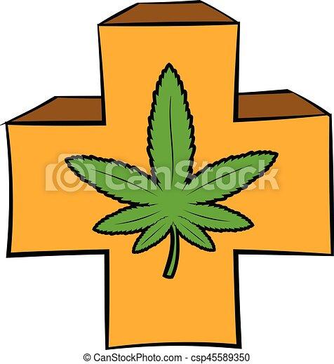 marijuana leaf on a red cross icon cartoon. marijuana leaf