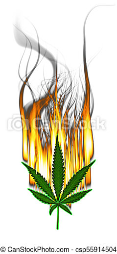 Marijuana Leaf on Fire