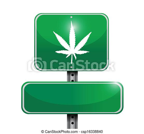 marijuana road sign illustration design - csp16338840