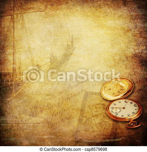 marin, vieux, nostalgie, temps, histoires, fond - csp8579698