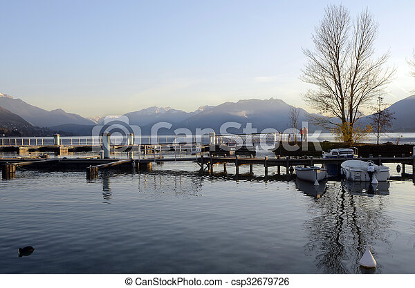 Marina and Annecy lake landscape in France - csp32679726