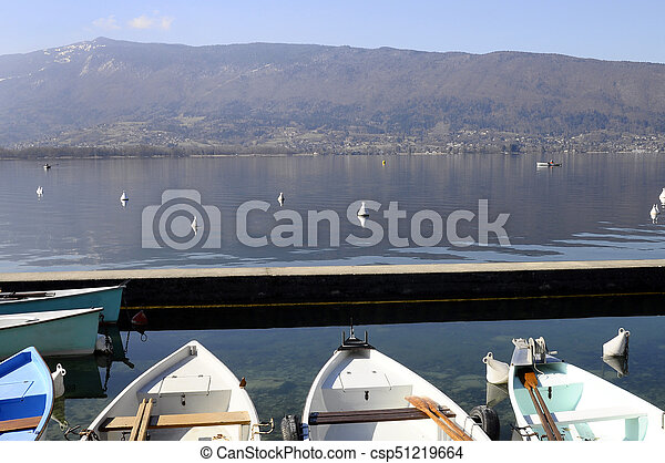 Marina and boats in Menthon, Annecy lake - csp51219664
