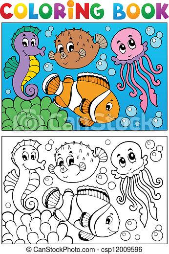 marina, colorido, animales, libro, 4 - csp12009596