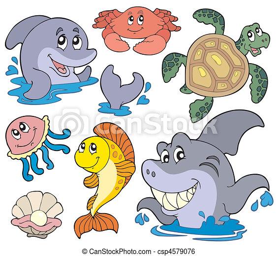 marina, conjunto, animales - csp4579076