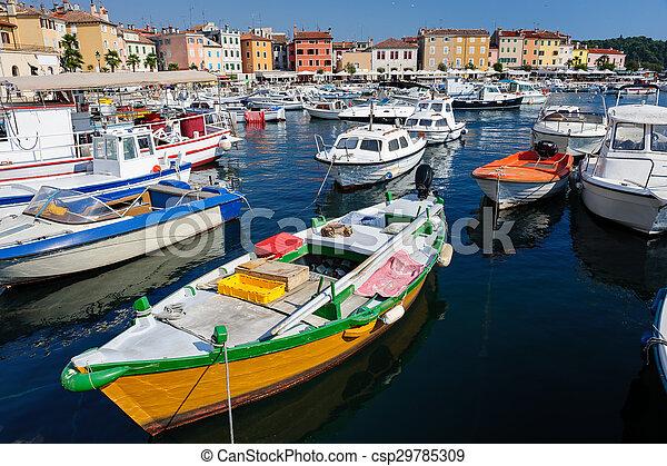 Marina of Rovinj town, Croatia - csp29785309
